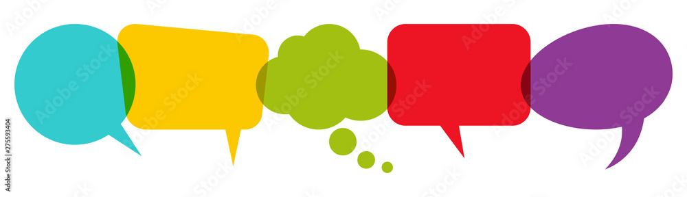 Fototapeta colored speech bubbles in a row