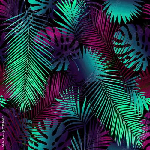 Türaufkleber Künstlich Collage of tropical leaves