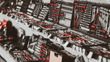 Mechanic tool store showcase. Professional chrome wrench tools organized in boxes. - 275597487
