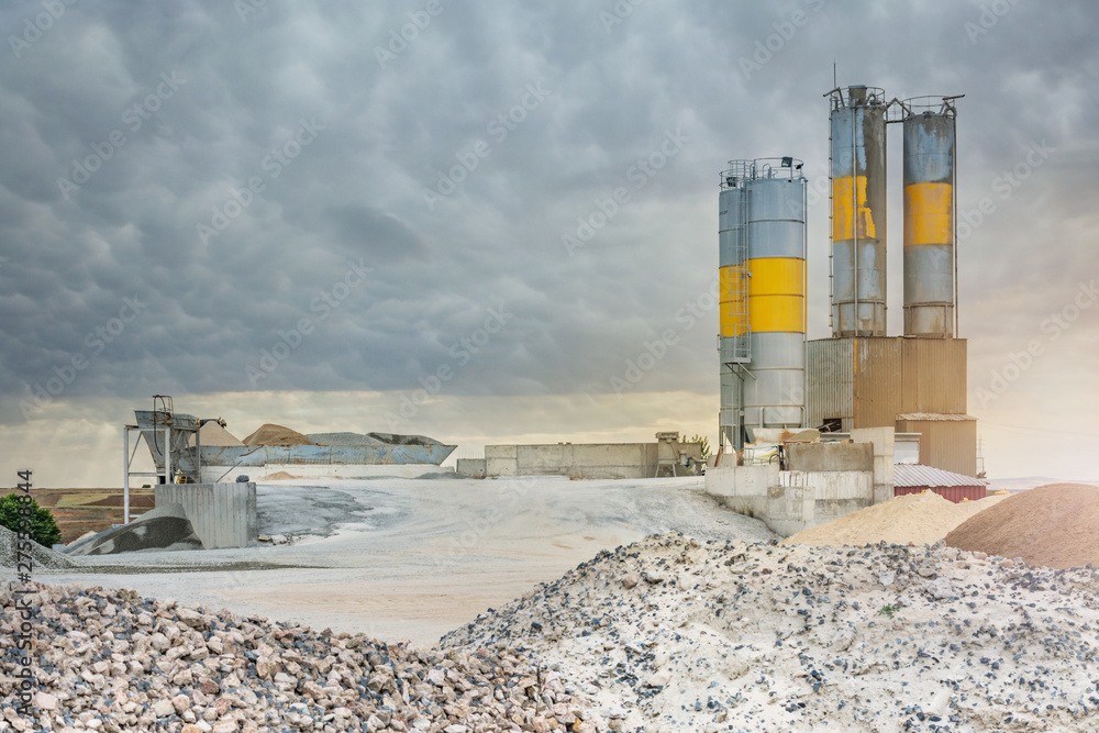 Fototapeta Sand and stone destined to the manufacture of cement in a quarry