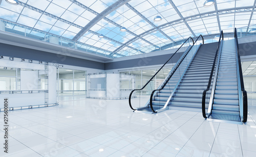 Interior is a blank space of a two-story hall with a vaulted transparent roof Poster Mural XXL