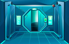 Hallway In Spaceship With Open...