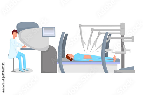 Robot assisted surgery flat vector illustration  Surgeon and patient