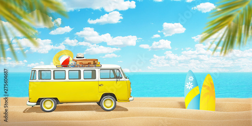 Canvas Prints Countryside Old van and surfboards on beach sand. Concept of summer travel and enjoying the sport. Palm trees in front and sea in background.