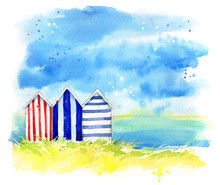 Beach Huts By The Sea, Waterco...
