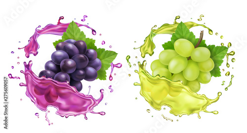 Valokuva Red and white wine grapes and juice splash