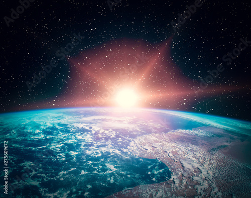 Keuken foto achterwand Nasa Sunflare and the earth from space. The elements of this image furnished by NASA.