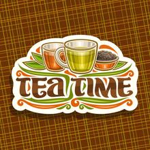 Vector Logo For Tea Time, Vint...