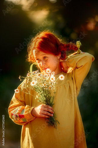 Photo  Pippi Longstocking outdoor portrait