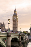 Fototapeta Londyn - London - U K- August 18, 2013 -  Big Ben at sunset - is the London building that houses the two chambers of the Parliament of the United Kingdom