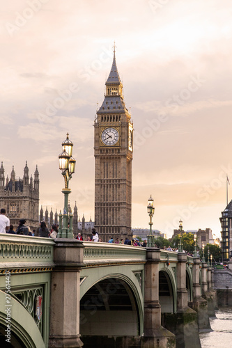 London - U K- August 18, 2013 -  Big Ben at sunset - is the London building that houses the two chambers of the Parliament of the United Kingdom