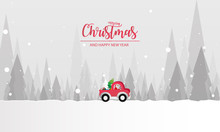 Illustration Of Paper Art Santa Claus Is Riding Red Classic Pickup Truck Car And Carry Christmas Tree, Happy New Year And Merry Christmas Day, Snowfall Landscape Forest In Full Moon,vector.