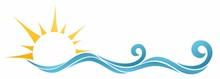 Sun And Blue Wave Symbol.