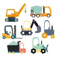 Set Of Funny Construction Transport. Creative Kids Graphic. Vector Hand Drawn Illustration.