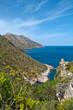 A panoramic view of the coastline of the Oasi dello Zingaro natural reserve, San Vito Lo Capo, Sicily