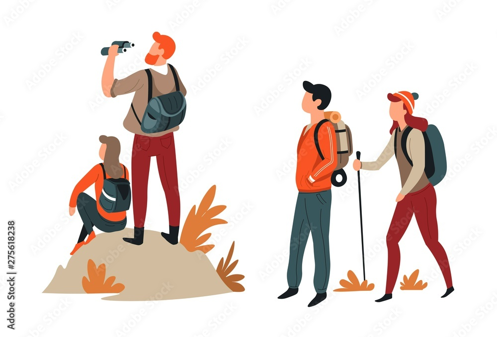 Fototapety, obrazy: Hiking and trekking hikers couples backpacks and binoculars or stick