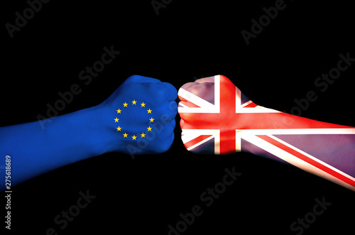 The fist of the British and EU confrontation Wallpaper Mural