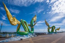 Naga Statue At The Mekong River In The Town Of Nong Khai Province Thailand