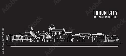 Cityscape Building Linia sztuki Wektor ilustracja projektu - Toruń