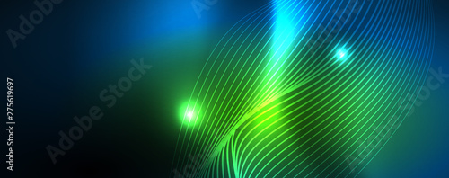 Smooth wave lines on blue neon color light background Canvas-taulu