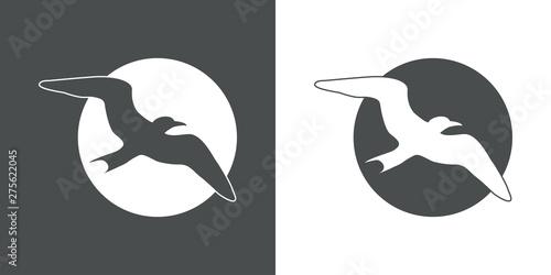 Logotipo abstracto con gaviota en espacio negativo en circulo gris y blanco