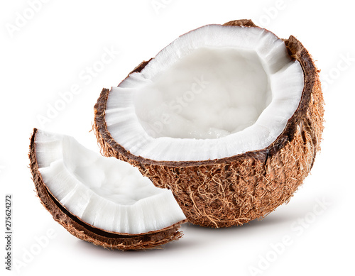 Coco. Coconut half and piece isolated. Cocos white. Full depth of field.