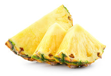 Pineapple Slices And A Half Of Pineapple Ring. Pineapple Isolate On White. Clipping Path. Full Depth Of Field.