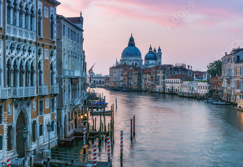 Architecture of Venice, Italy at sunrise. Scenic travel background.