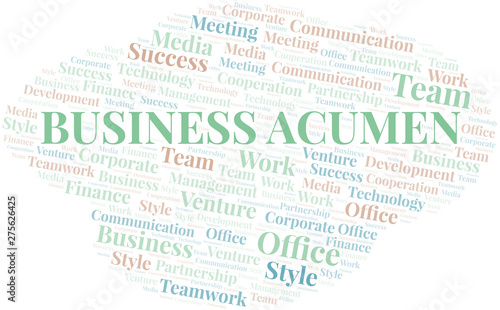 Business Acumen word cloud. Collage made with text only. Canvas Print