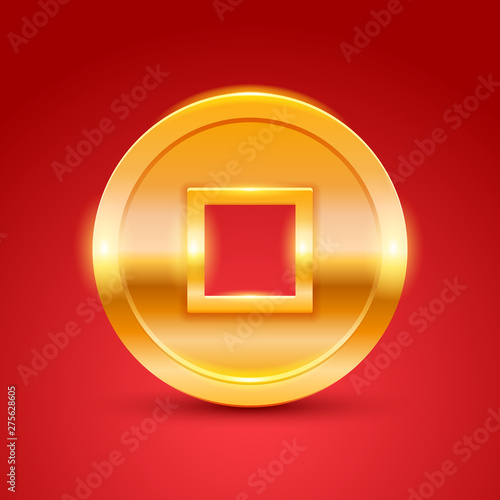 Photo Golden chinese coin. New year lucky gift.