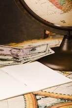Close-up Of Notepad, Banknotes...