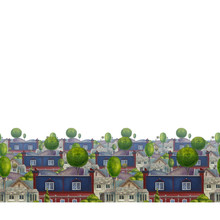 Seamless Pattern With Roofs Of Houses. Old Fabulous English Town. Colorful Book Illustration.