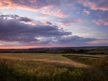 Moody Sunset Clouds Over The Devon Countryside In Bideford