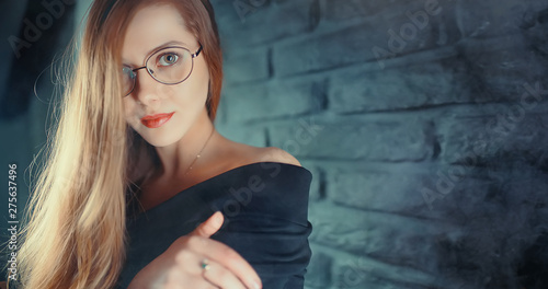girl loft interior studio glasses / businesswoman in glasses, confidence, youth, nature Canvas Print