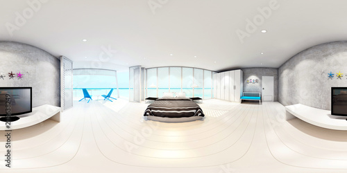3d rendering bedroom interior with sea view background,minimal bedroom interior with seascape view,Spherical Panorama 360 degree