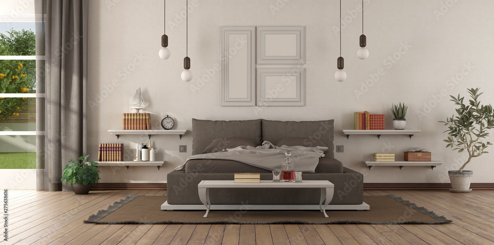 Fototapety, obrazy: Modern master bedroom with brown bedroom