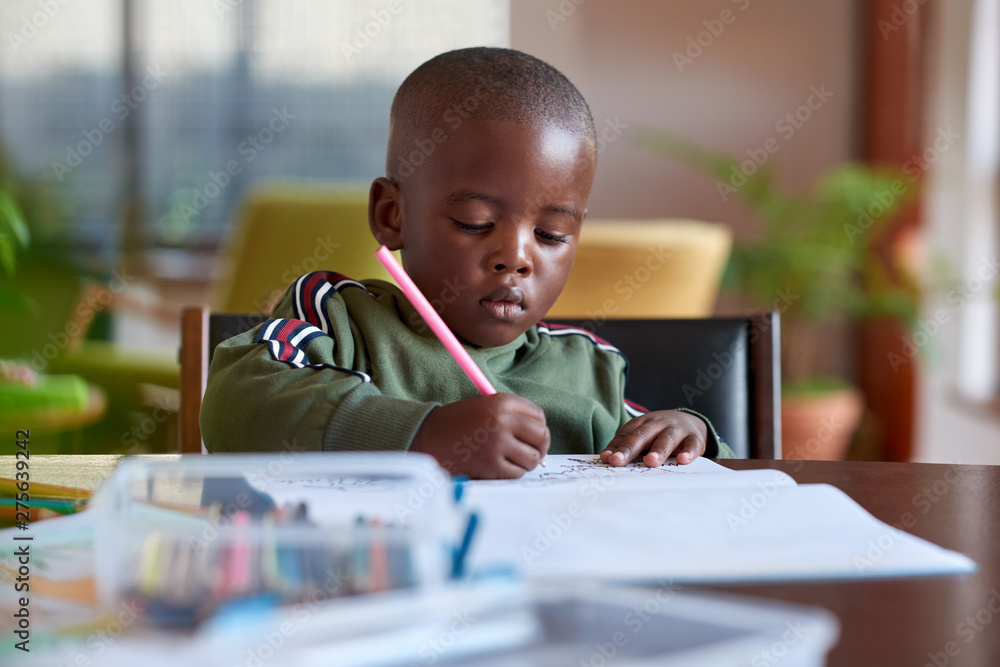 Fototapety, obrazy: Young artistic boy drawing at home