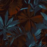 akwarela bezszwowe wzór z liści tropic. Ręcznie rysowane tła. Botaniczny wzór tapety lub tkaniny. Egzotyczna płytka. - 275639229