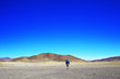 canvas print picture - lonely man travels along deserted canyon,  desert,  lifeless terrain,  landscape of highlands