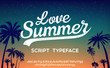 Love Summer. Hand made script font. Vacation summer time. Waikiki beach. Vector illustration. Retro typeface and logo. Summer style.