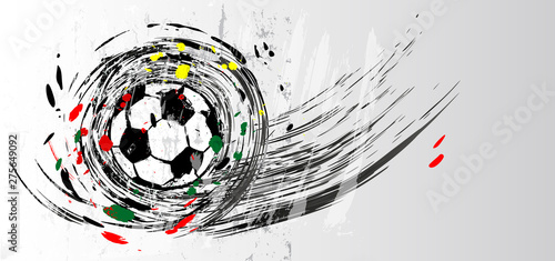 soccer / football, design template, free copy space, with soccer ball, swirly grunge style vector illustration