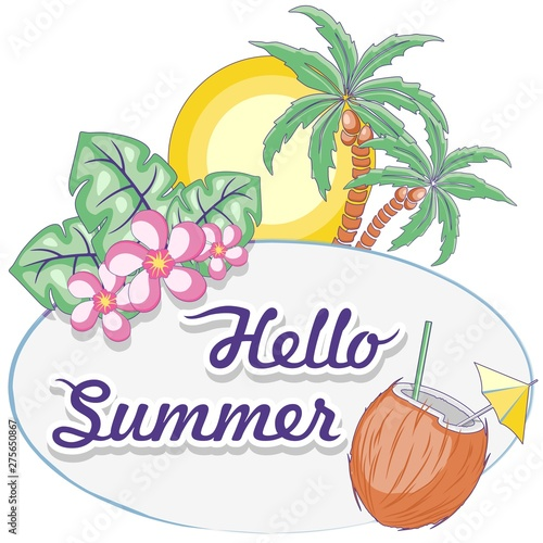 Foto auf Gartenposter Ziehen Hello Summer Tropical Oval Framed Label Vector Logo Design Pastel Colors