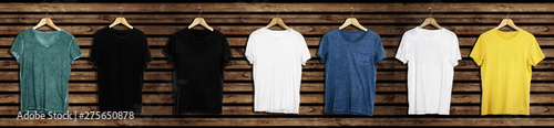 Obraz t-shirt mockup and template on wood background for fashion and graphic designer  - fototapety do salonu