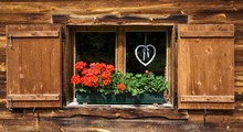 Geraniums And Braided Heart On The Window Of A Farmhouse, Eng, Eng-Alm, Karwendel, Tyrol, Austria, Europe