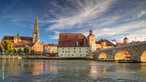 Regensburg, Germany. Panoramic cityscape image of Regensburg, Germany during sunny summer day. - 275654263