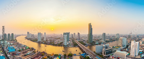 Beautiful view of Bangkok city with Chaopraya river at sunset Canvas Print