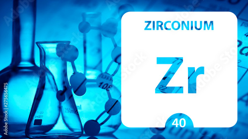 Fotografie, Tablou Zirconium Zr, chemical element sign