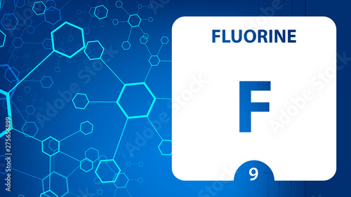 Flourine F, chemical element sign. 3D rendering isolated on white background. Flourine chemical 9 element for science experiments in classroom science camp