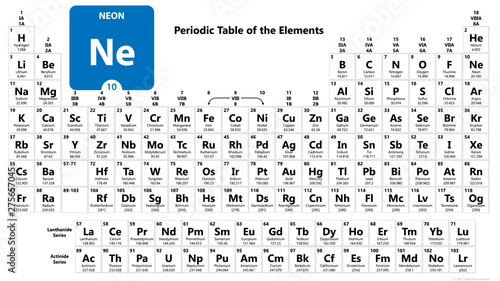 Neon Chemical 10 element of periodic table. Molecule And Communication Background. Chemical Ne, laboratory and science background. Essential chemical minerals and miFeo elements