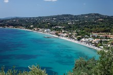 Ypso Bay And Beach With Kato Agios Markos, Corfu, Ionian Islands, Greece, Europe